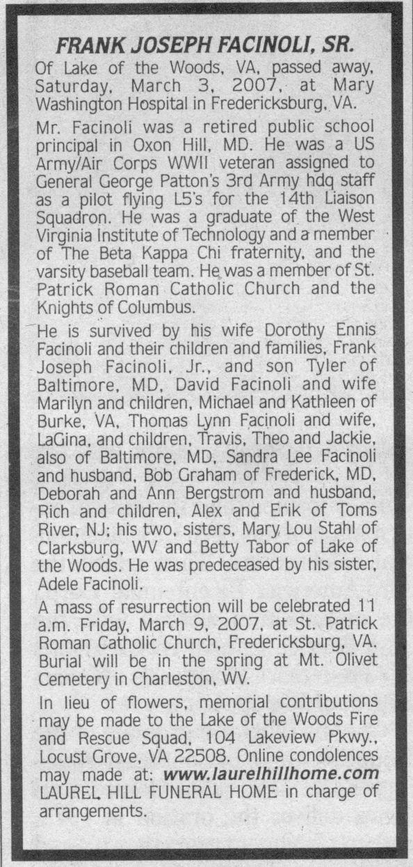 Facinoli, Frank J., obituary
