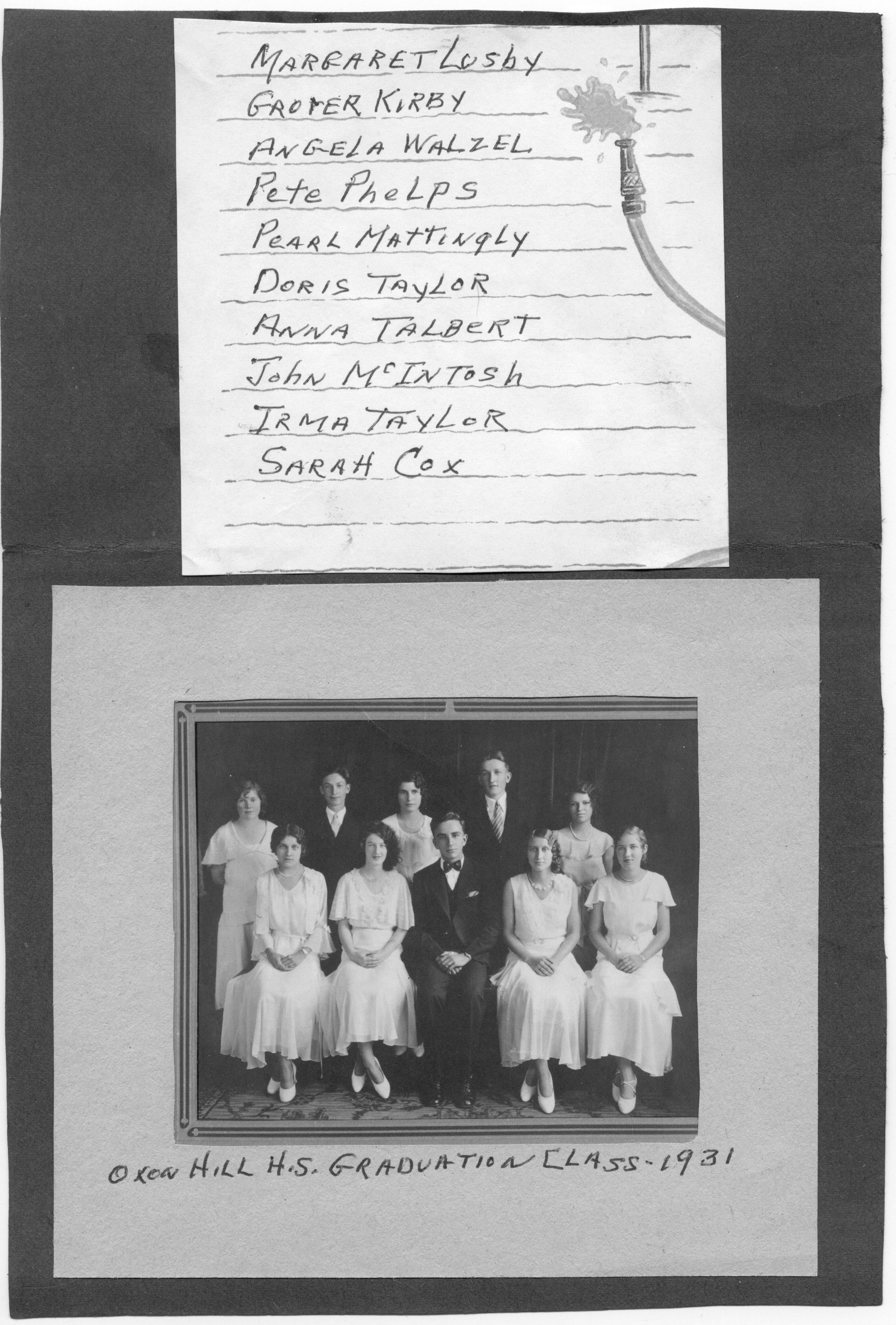 OXH Consolidated School Class of 1931 - 02